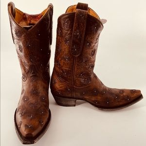 """Old Gringo Cowboy Boots Springy 10"""" Brass 8.5"""